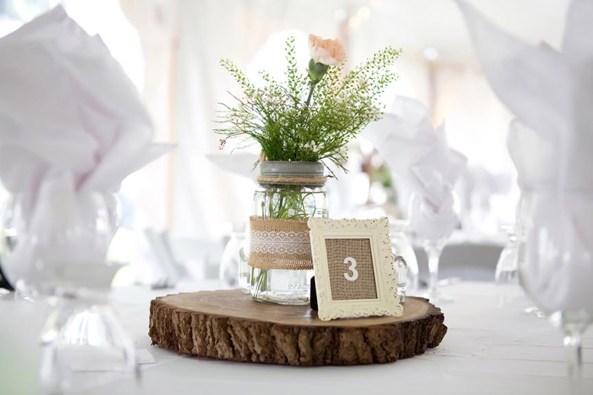 Backyard Wedding wedding reception centre piece