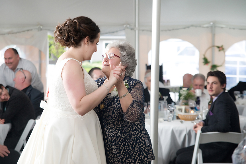 Backyard Wedding wedding reception bride and grandma