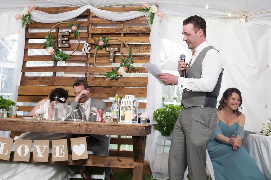Backyard Wedding wedding reception best man speech