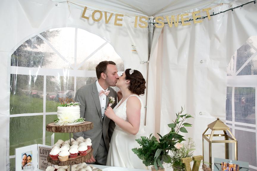 Backyard Wedding wedding reception cake cutting