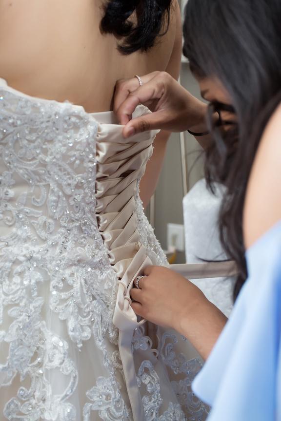 bride prep dress lacing