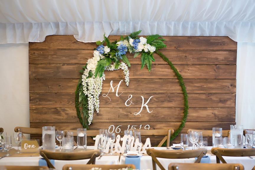 head table in backyard wedding