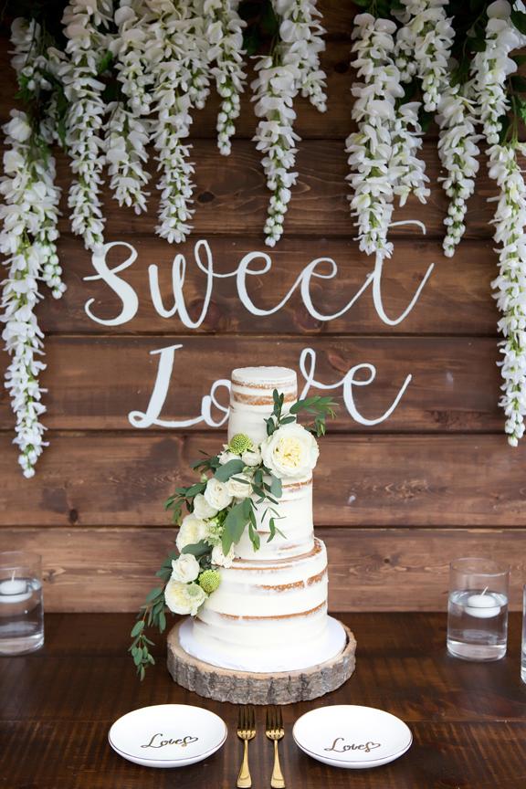 wedding cake in backyard wedding