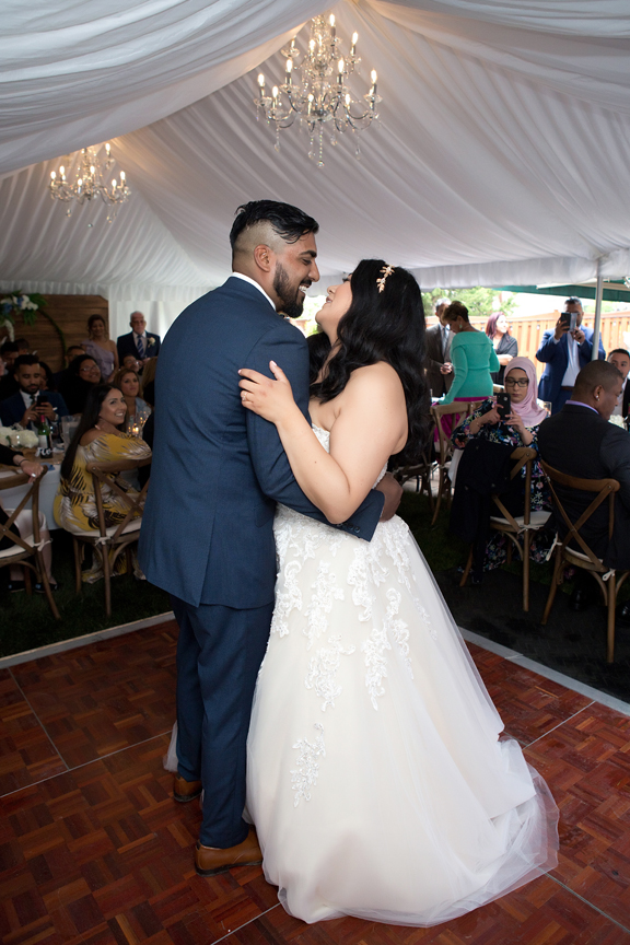 first dance in backyard wedding