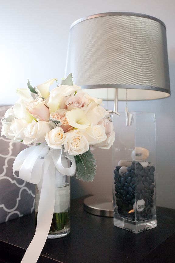 bride prep wedding bouquet