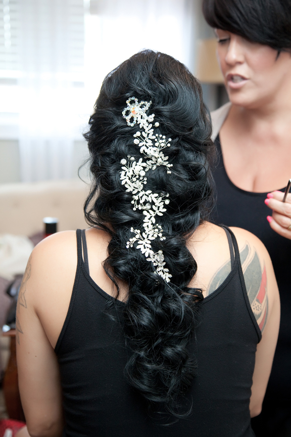 bride prep wedding hair
