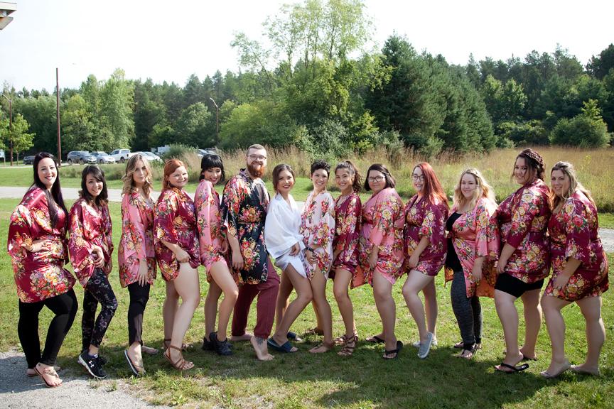bride prep bridesmaids