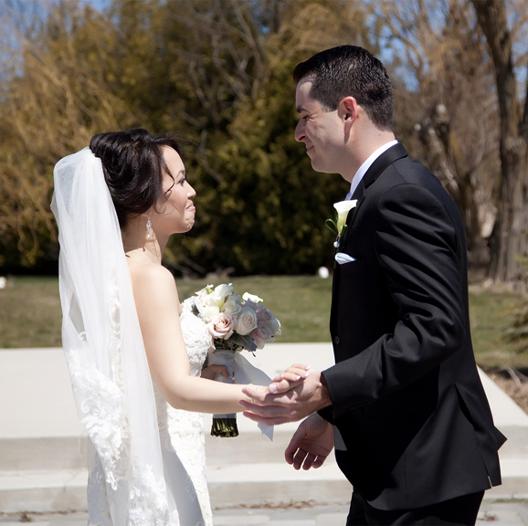 first look wedding portrait at Galluci Winery