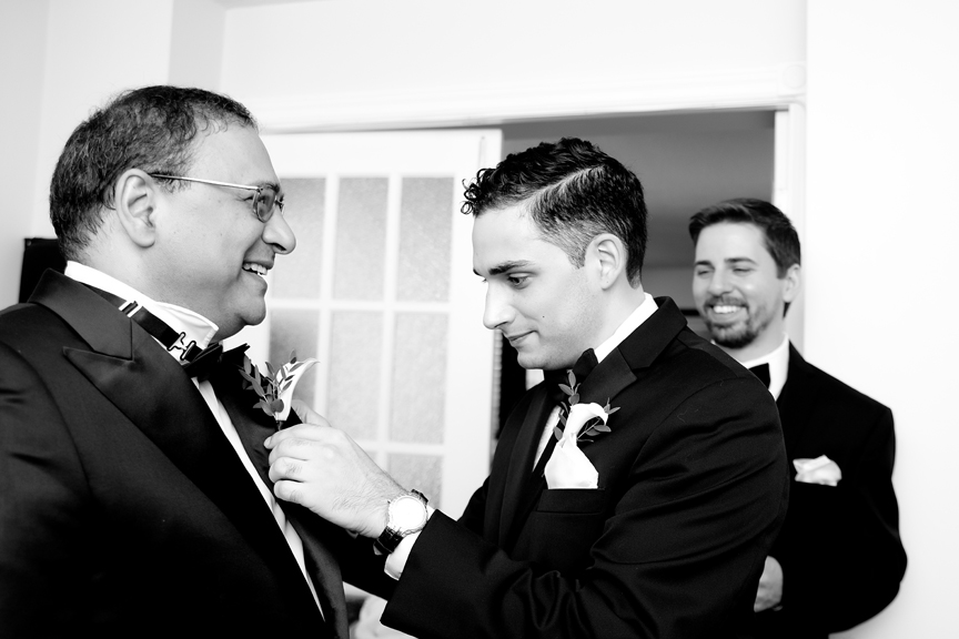 groom prep with dad