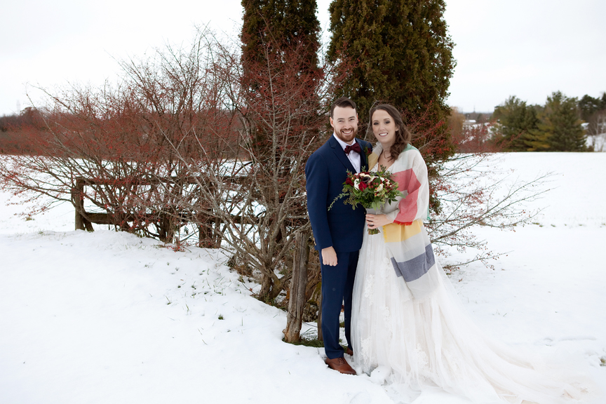 formal portrait winter wedding at Waterstone Estate and Farms