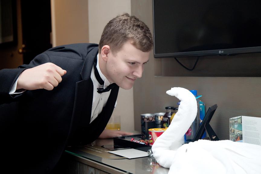groom prep having fun