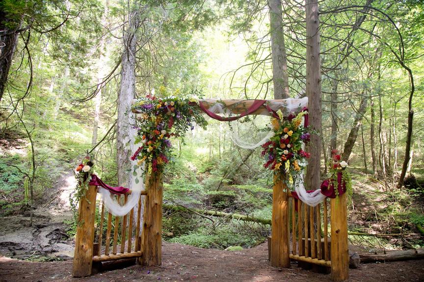 alter decor wedding ceremony at Ganaraska Forest Centre