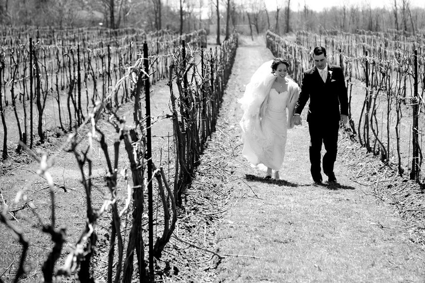 couple walking wedding portrait at Galluci Winery