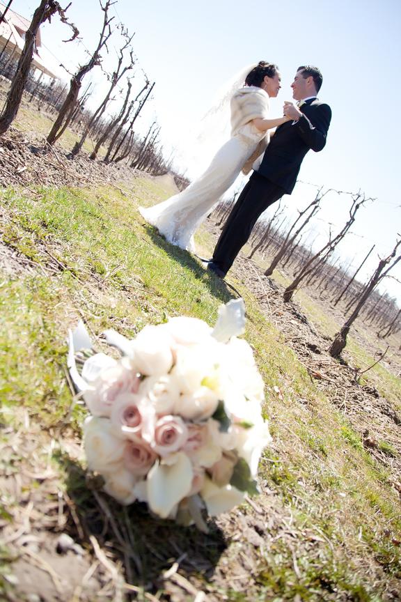 bridal bouquet wedding portrait at Galluci Winery