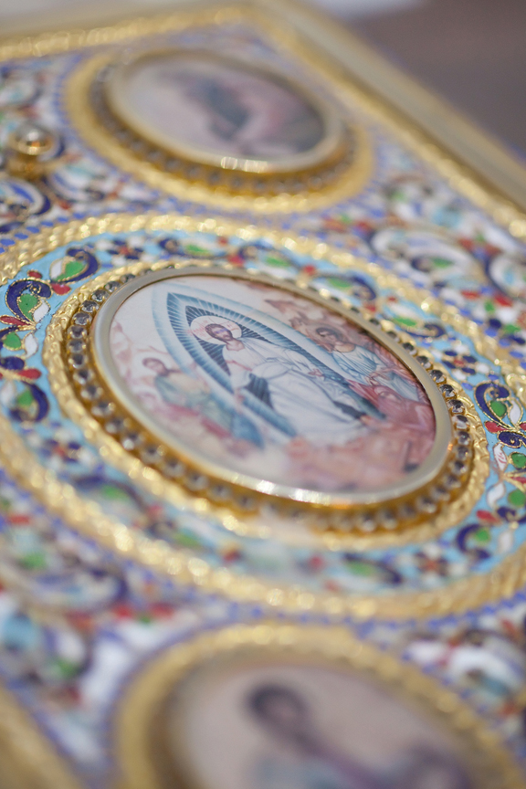 bible wedding ceremony at All Saints Greek Orthodox Church
