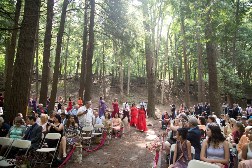bridal party down the aisle wedding ceremony at Ganaraska Forest Centre