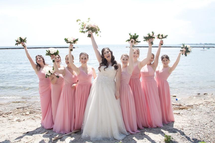 bridesmaids wedding portraits along waterfront