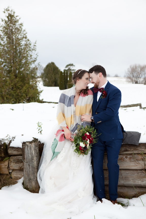 happy couple winter wedding at Waterstone Estate and Farms