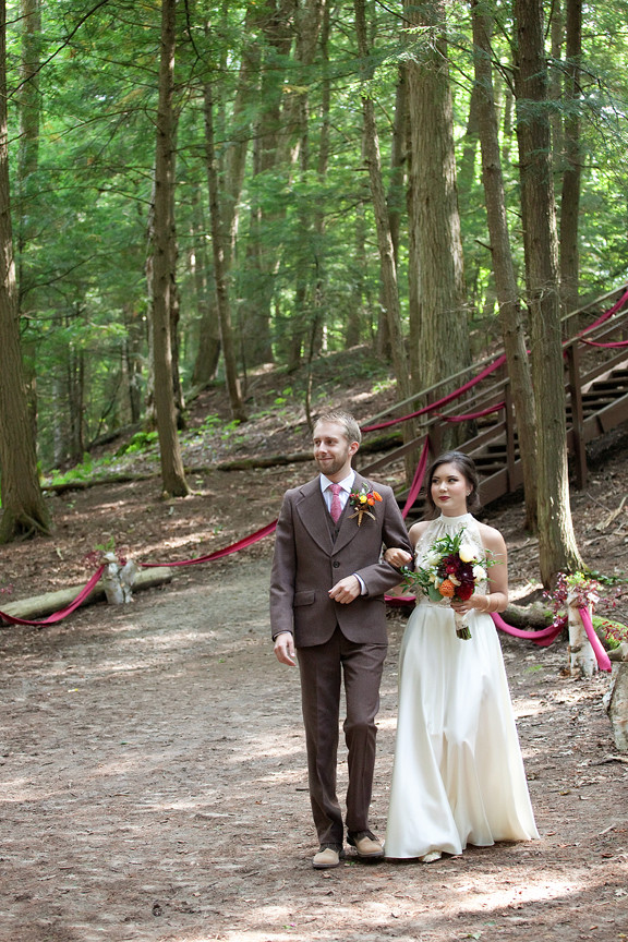 bride and groom down the aisle wedding ceremony at Ganaraska Forest Centre