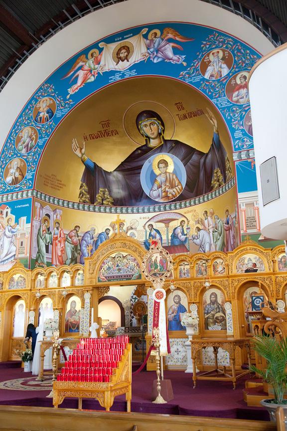 decor wedding ceremony at St Panteleimon Greek Orthodox Church