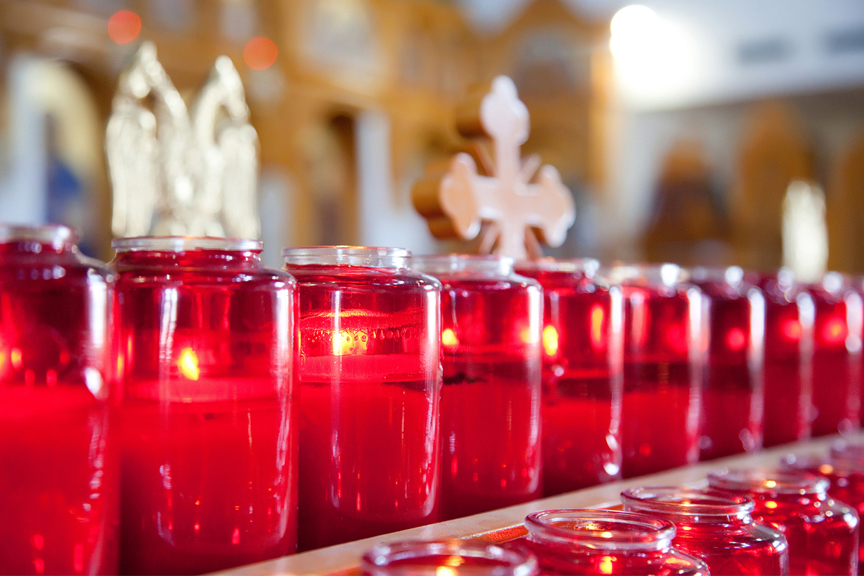 candles wedding ceremony at St Panteleimon Greek Orthodox Church