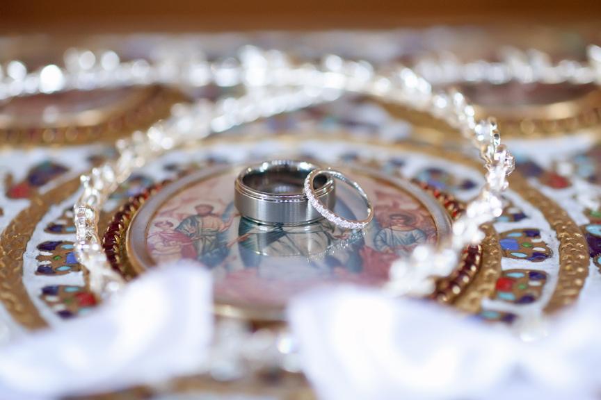 rings wedding ceremony at St Panteleimon Greek Orthodox Church