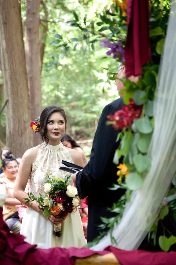 bride wedding ceremony at Ganaraska Forest Centre