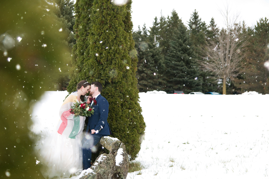 bride and groom portrait winter wedding at Waterstone Estate and Farms