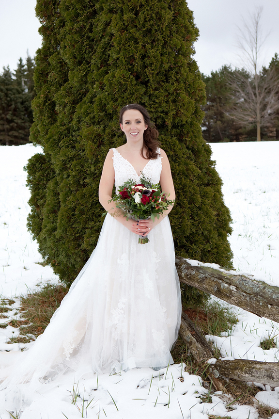 bride portrait winter wedding at Waterstone Estate and Farms