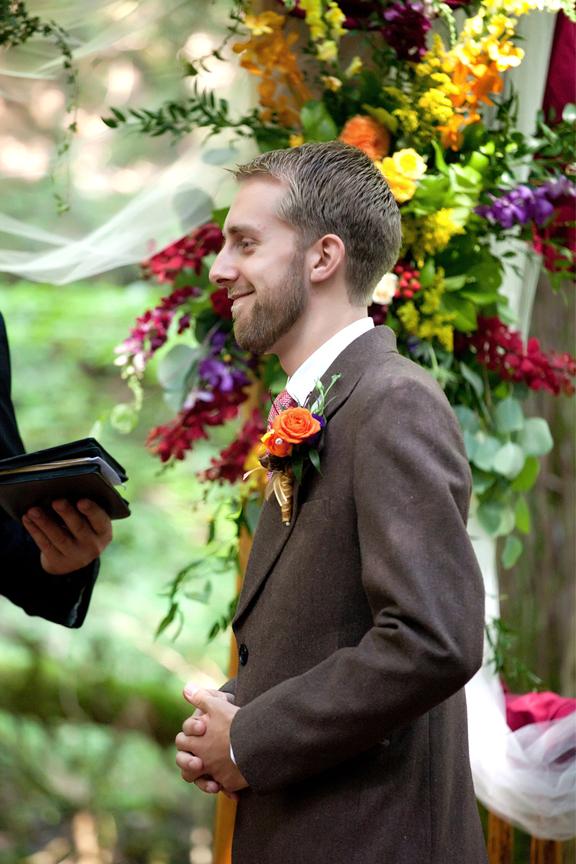 groom wedding ceremony at Ganaraska Forest Centre
