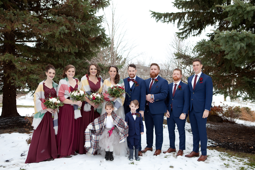 bridal party winter wedding at Waterstone Estate and Farms