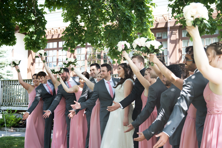 bridal party wedding portraits along waterfront