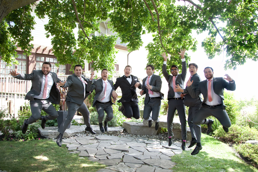 groomsmen wedding portraits along waterfront
