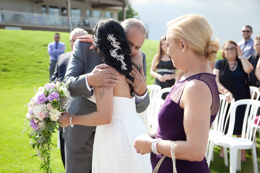 bride and father wedding ceremony at Tangle Creek Golf and Country Club