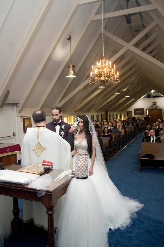 wedding ceremony at All Saints Greek Orthodox Church