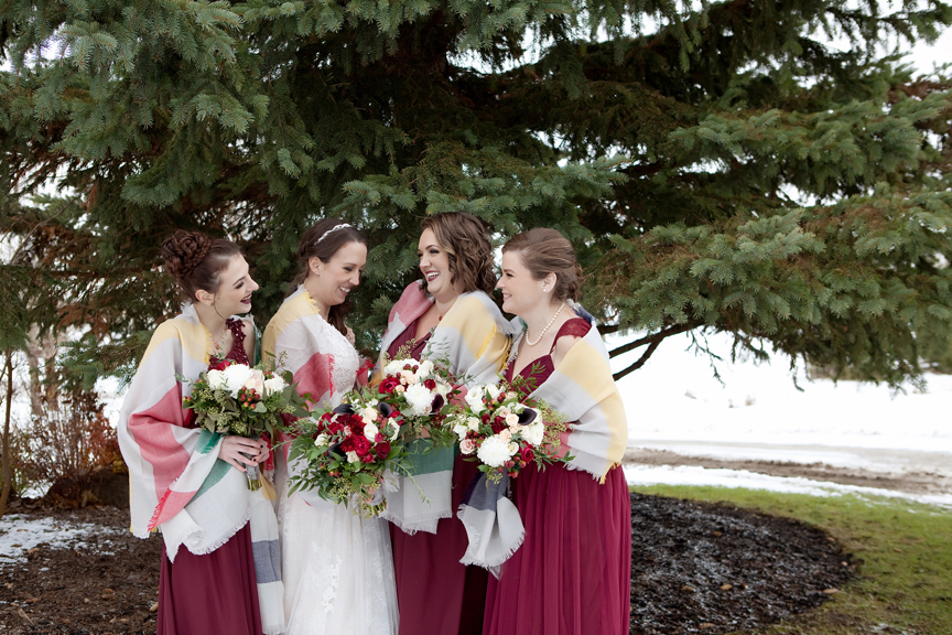 bridesmaids winter wedding at Waterstone Estate and Farms