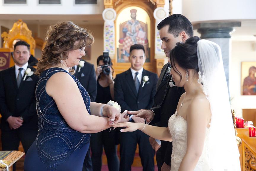 ring exchange wedding ceremony at St Panteleimon Greek Orthodox Church