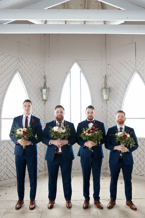 groomsmen portrait at Waterstone Estate and Farms