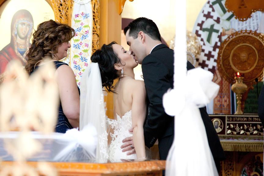 first kiss wedding ceremony at St Panteleimon Greek Orthodox Church