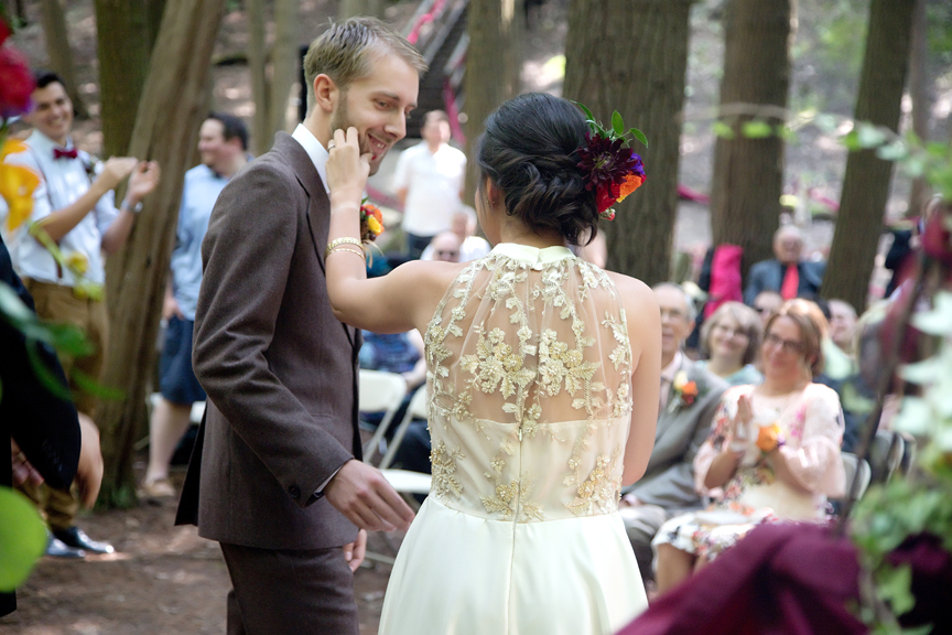 couple's first kiss wedding ceremony at Ganaraska Forest Centre
