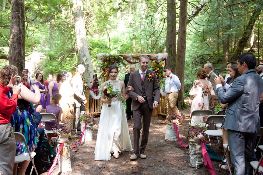 recession wedding ceremony at Ganaraska Forest Centre