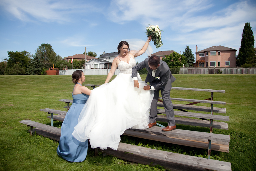bride blown by the wind at George Richardson Park