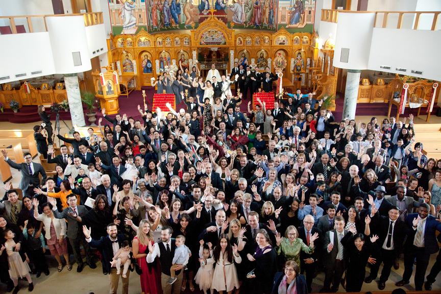 group photo wedding ceremony at St Panteleimon Greek Orthodox Church