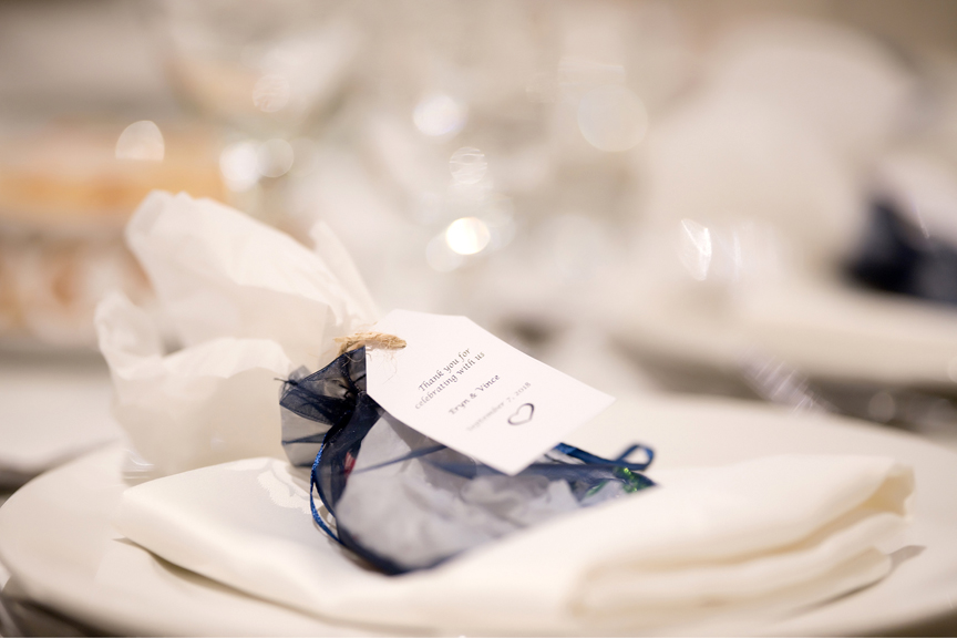 party favours wedding reception at Paradise Banquet Hall