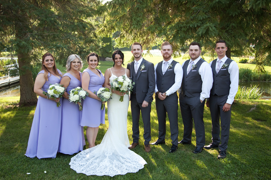 bridal party at wedding portraits