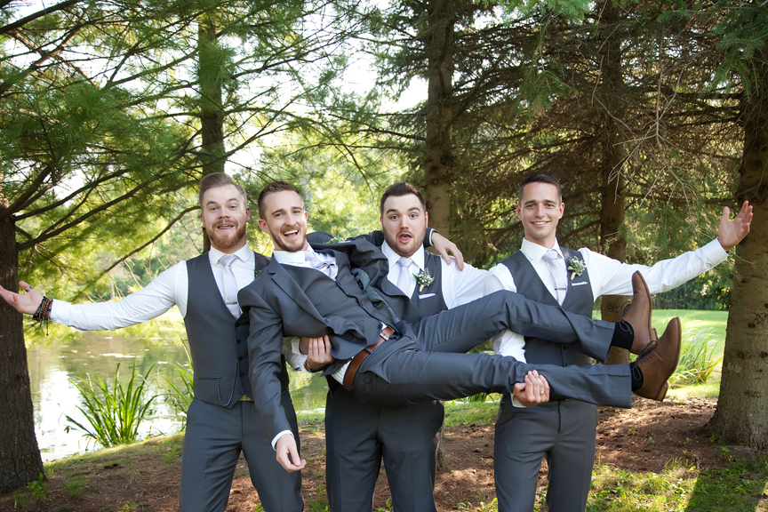 groom with groomsmen wedding portraits