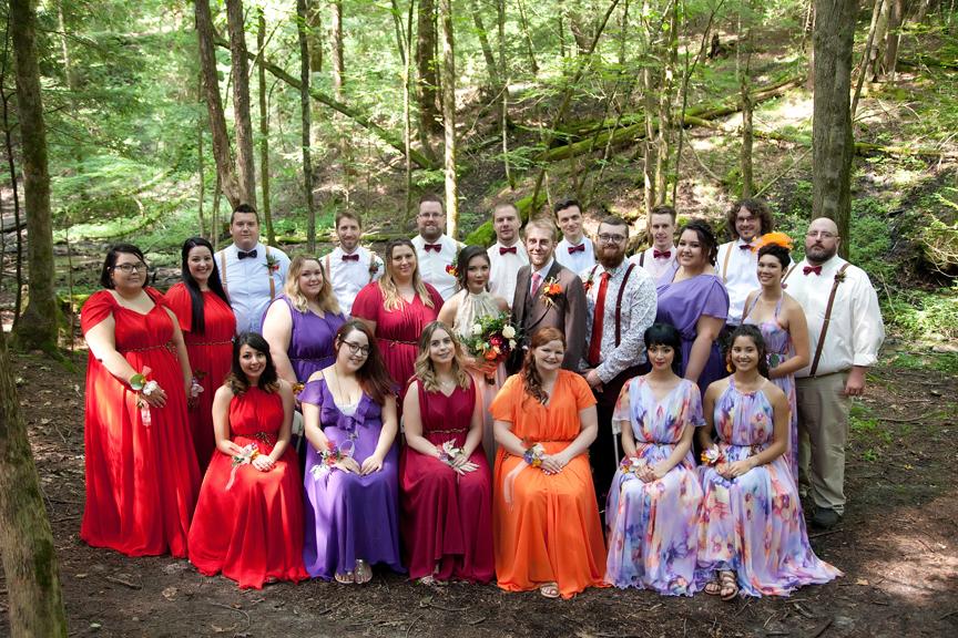 bridal party portrait at Ganaraska Forest Centre