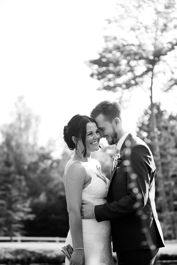happy bride black and white portrait at Trillium Trails Banquet Centre