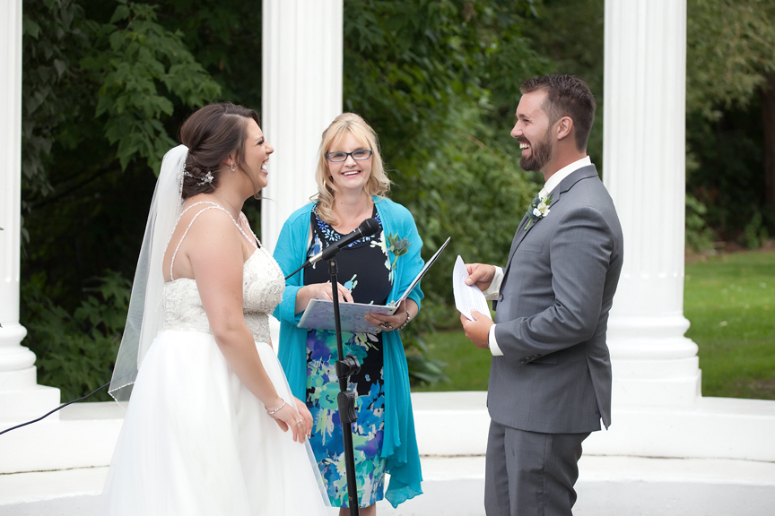 laughing couple wedding ceremony at Paradise Banquet Hall