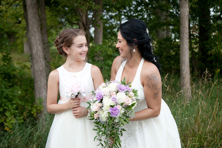 bride with flower girl at Tangle Creek Golf and Country Club